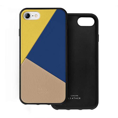Native Union CLIC Marquetry Custodia - Cover in Vera Nappa Italiana - Compatibile con iPhone SE 2020, iPhone 7, iPhone 8 (Canary)