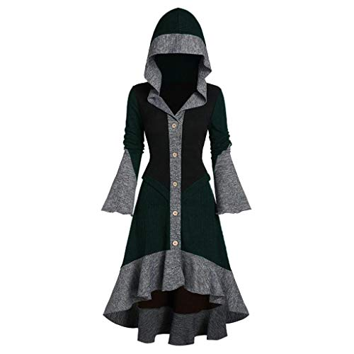 SUMTTER Mittelalter Kleid Damen Vintage Gothic Kleidung Damen Retro Umhang Kostüm Damen Große Größen für Halloween Karneval Weihnachten (Grün2, L)