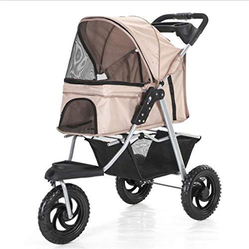WGYDREAM Hundebuggy Hundewagen Pet Travel Kinderwagen Pet 4-Rad Trolley Katzen Hunde Carts Stoß- Durable Stroller EIN-klick-Klappwagen Buggy Travel (Color : Brown)