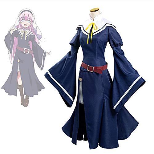 GGOODD Anime KamisamaDAY Cosplay Disfraz Sato Hina Mujeres Halloween Azul Marino Vestido Conjunto,L