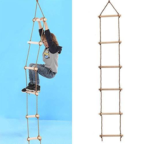 Escalera de cuerda para escalar para niños,Columpio de escalera para escalar para niños,Escalera de cuerda para niños con peldaños de madera,ideal para armazón de escalada,casa del árbol,guaridas y c