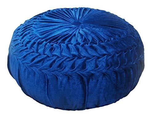 casamia - Cojín Redondo de Terciopelo, 45 cm de diámetro, 30 cm de Altura, Color Azul