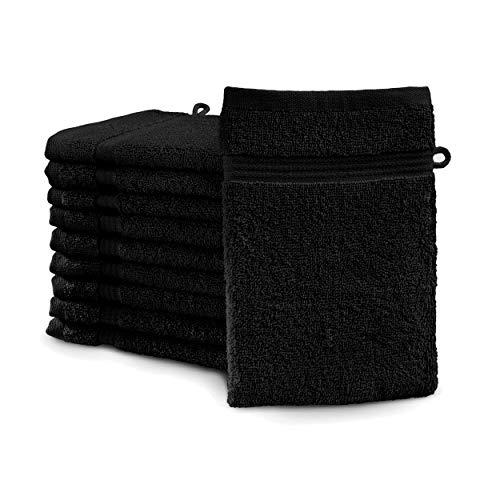 Castell 0100144/080/747/605 Lot de 10 Gants de Toilette en éponge 100% Coton 550 g/m² Noir 16 x 21 cm