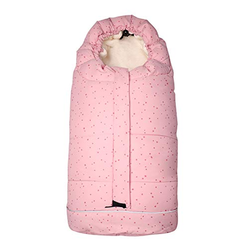 AtBabyHome Bunting Bag for Stroller, Adjustable Stroller Footmuff with 5 Security Holes, Multi-Zippers Easy to use, Waterproof Baby Sleeping Bag Pink for Toddler Girl 6-36 Months