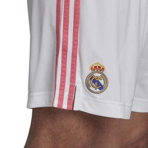 Real Madrid Stagione 2020/21 - Pantaloncini da Primo equipaggiamento Ufficiale – Pantaloncini da Primo equipaggiamento Ufficiale, Unisex, Adulto, Unisex - Adulto, FM4733, Bianco, XS