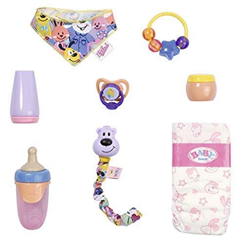 Baby Born Set Básico con Chupete Mágico para Muñecas de 43 cm - para Niñas de 3 Años en Adelante - Fácil para Manos Pequeñas - Incluye Chupete con Cadena, Pañal, Anillo de Juguete y Más