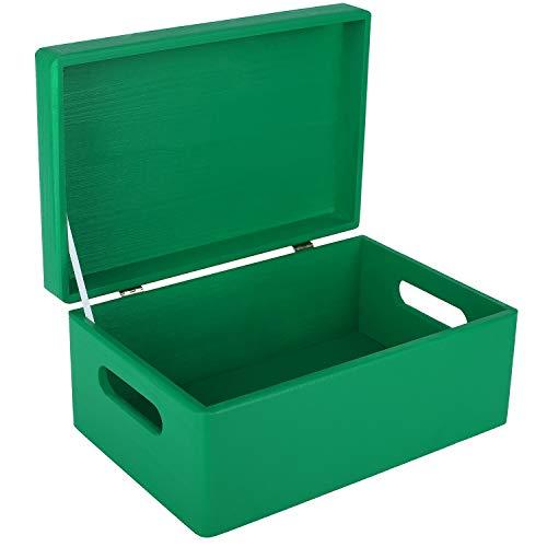 Creative Deco Verde Grande Caja de Madera para Juguetes | 30 x 20 x 14 cm (+/-1cm) | con Tapa y Asas Cofre para Decorar | Almacenaje Documentos, Objetos de Valor, Herramientas
