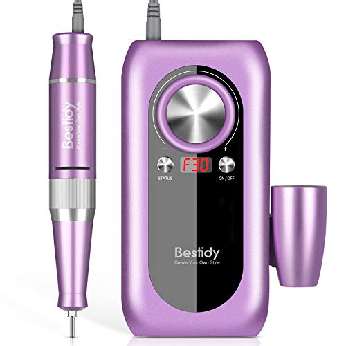 Bestidy Electric Nail Drill,Portable Professional Nail File Kit for Acrylic, Gel Nails, Manicure Pedicure Polishing Shape Tools Design for Home Salon Use, Purple