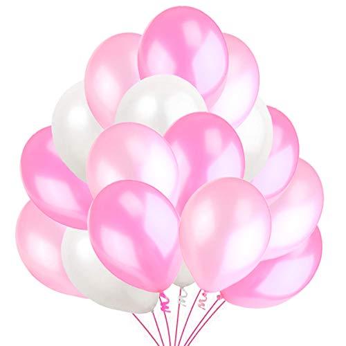 Jonami 100 Luftballons Rosa Weiß Pink Ballon Premiumqualität 30 cm Partyballon Deko Pink. Dekoration fur Geburtstag , Baby Shower, Baby Dusche Party