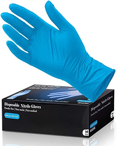 100 Pcs Nitrile Disposable Gloves - Soft Industrial Gloves, Nitrile and Vinyl Blend Gloves Powder-Free, Latex-Free Protective Gloves, Soft and Comfortable, Size Small - SereneLife SLGLVNIT100SM