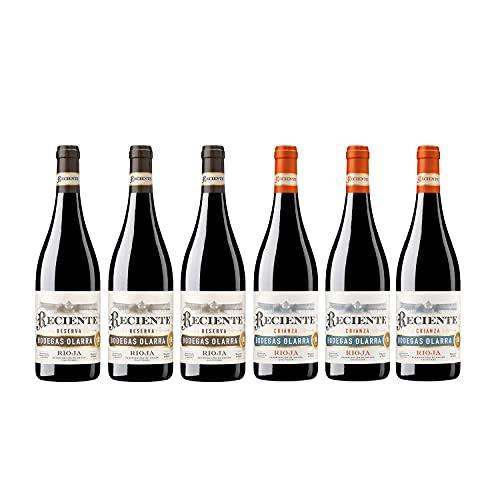 Reciente - Vino Tinto Reserva y Crianza, Rioja Alta, Alavesa y Media, Pack de 6 botellas de 750 ml (3 botellas de Reserva y 3 botellas de Crianza)