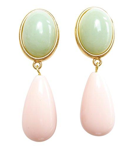 Pendientes ligeros muy grandes, dorados, con piedra jade verde y colgante rosa en forma de gota, para fiestas de cumpleaños de JUSTWIN