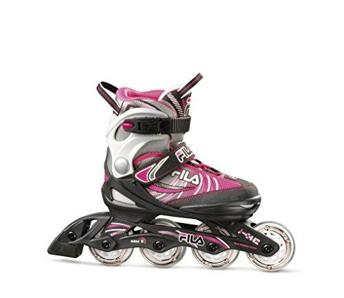 Fila Mädchen Kids-Inline-Skates J-One, Black/Grey/Pink, S: EU 28-29-30-31-32