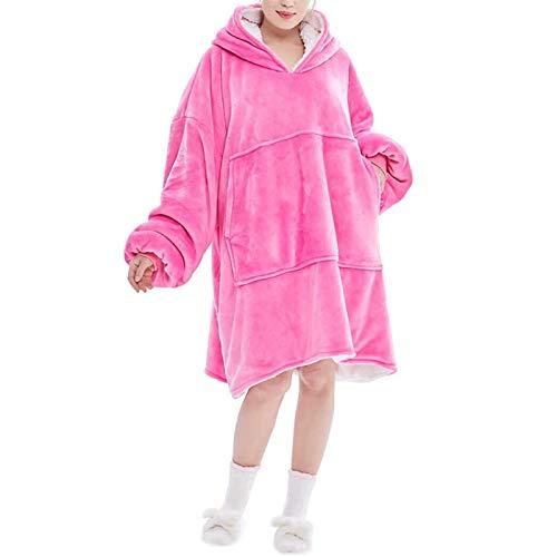 HSY SHOP DER KOMFY Traum | Übergroße tragbare Decke aus Leichter Mikrofaser, Einheitsgröße, Haifischbecken (Color : Pink)
