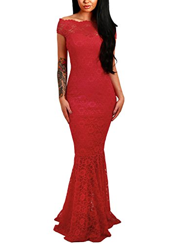 ZKESS Women's Floral Lace Off Shoulder Wedding Mermaid Long Dress Red X-Large Size