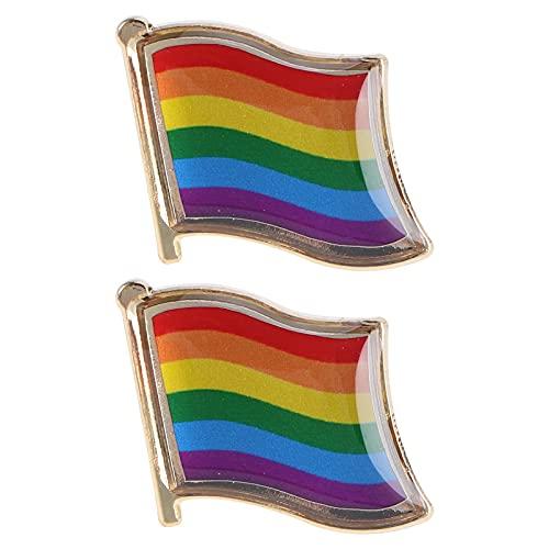 SOIMISS 2 Piezas Clásico Arcoíris Broche Pines Gay Arcoíris Insignias Bandera Patrón Broches para Hombre Mujer