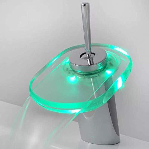 JKCKHA Cuenca del Grifo Ascensor-up Lavabo de luz LED de Control de Temperatura de Color de Cristal Grifo grifos de baño grifos de baño