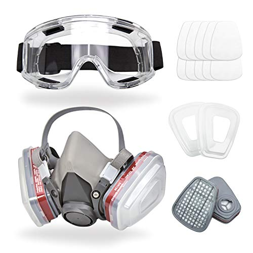 Respirator Mask for Spray Painting, Woodworking, Welding, Dust, and General Safety with Clear Eye Goggles, 10 Replacement Filters, Half Face Cover with Safety Glasses