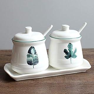 SMEJS Combinaison de 2 pièces Pot d'assaisonnement en céramique Nordique Fournitures de Cuisine, Pot de Rangement, Huile D...