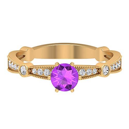 Anillo de Kunzite de 5 mm creado en laboratorio, anillo de oro de diamante HI-SI, anillo de compromiso de piedra lateral, joyería de oro para ella, anillo de vástago cónico, oro de 14 quilates morado