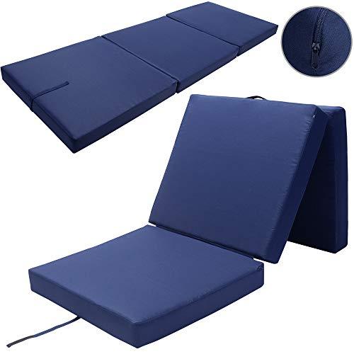 Detex Faltmatratze mit Cover 190 x 70 x 10 cm Blau Klappmatratze Blau Gästebett Reisebett Notbett waschbar & wasserabweisend