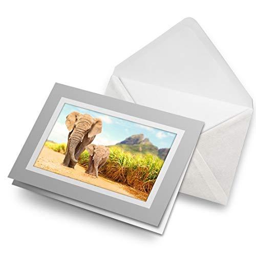 Fantastico Biglietto Di Auguri Grigio (Inserto) – Madre & Baby Elefante Polpaccio Bianco Biglietto Di Auguri Di Compleanno Per Bambini Festa Ragazzi Ragazze #14585