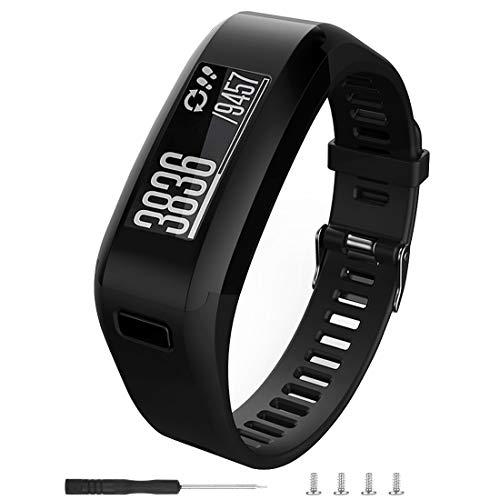 Meifox Compatible with Garmin Vivosmart HR Replacement Bands,Soft Silicone Replacement Band for Garmin Vivosmart HR Watch. (Black)