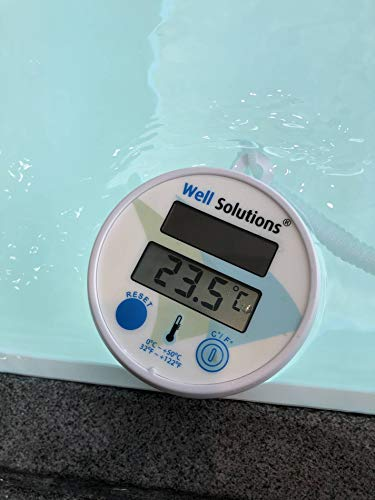Well Solutions ® Pool Thermometer rund, digital | bis +50° C und +122°F | inkl. Batterie-Knopfzelle