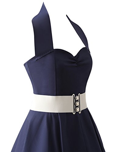 VKStar®Retro Chic ärmellos 1950er Audrey Hepburn Kleid / Cocktailkleid Rockabilly Swing Kleid Marineblau M - 4