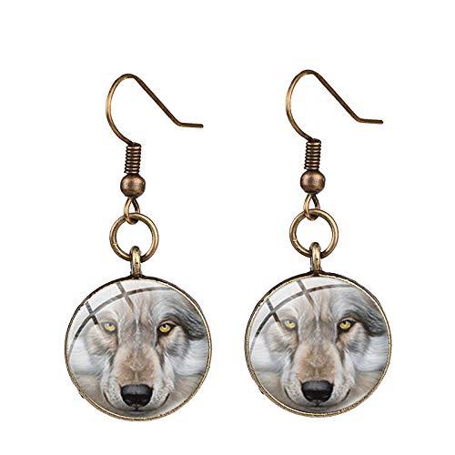 Orecchini unici a forma di lupo nordico e rosa color selvaggio animale foto di vetro cabochon orecchini a goccia partito gioielli