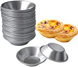 SPWOLFRT 25 Pack Egg Tart Molds Tiny Pie Tartlets Dessert Mold Pans Tin Puto Cup Bakeware Muffin Cupcake Cake Cookie Mold Baking Tool, Round Resuable Nonstick (25)