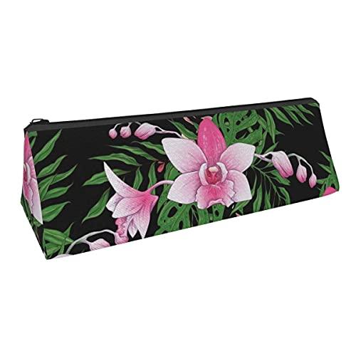 Patrón de costura a mano con rama estilizada de orquídea pequeña capacidad triángulo bolsa de almacenamiento para niños y niñas, escuela, oficina, alicates de papelería