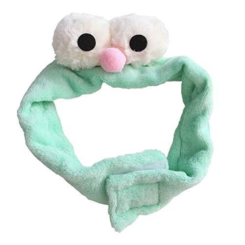 Weiches Plüsch Haarband mit schönen großen Augen Dekor Stirnband für Gesicht Waschen oder Make-up (Mintgrün)