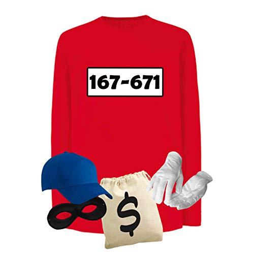 Panzerknacker Longsleeve Deluxe+ Kostüm-Set Wunschnr. Karneval Kids 104-164, Logo & Set:Standard-Nr./Set Deluxe+ (167-761/Shirt+Cap+Maske+Hands.+Beutel), Größe Kids LS + Sweat (Fruit of The Loom):164