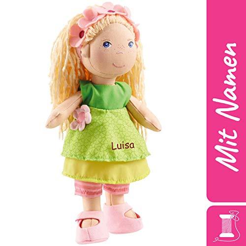 HABA Stoffpuppe Mali mit Namen Bestickt, weiche Erste Baby Puppe mit Kleidung und Haaren, 0-5 Jahre Kuschelpuppe Taufgeschenk, Anziehpuppe Kuschelpuppe 2141