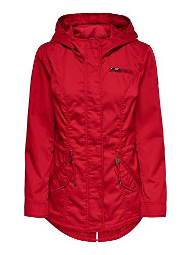 ONLY Damen Parka Übergangsjacke Kurzmantel Kapuzenjacke (34 (Herstellergröße: XS), Jester Red)