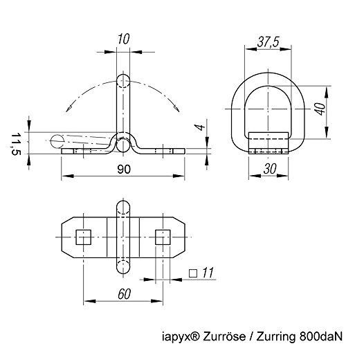 Timtina 4 Stück Aufbauzurrösen Zurringe Zurrmulden beidseitig klappbar