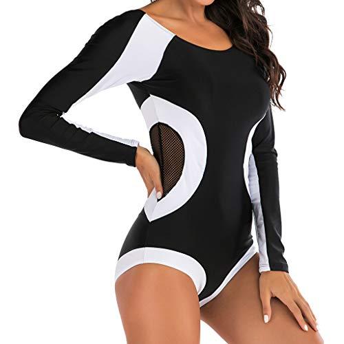 IHEHUA Damen Badeanzüge Mesh Beidseitig Bademode Reißverschluss Strandkleidung Swimsuit mit Chest Pad Mode Sexy Einteiliger Swimwear Beachwear(A-Schwarz,42)