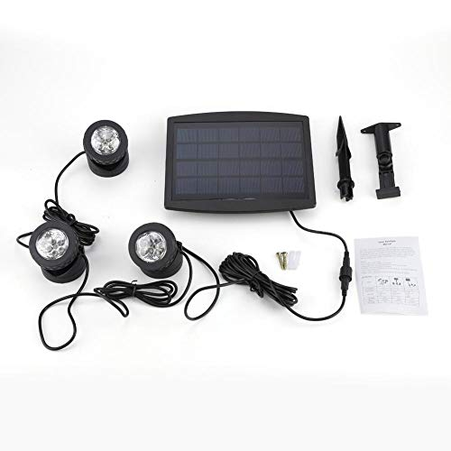 Zoternen Illuminazione per laghetto, Illuminazione Solare con 18 LED, IP 68, Impermeabile, 3 luci LED subacquee per Illuminazione Subacquea, laghetto,