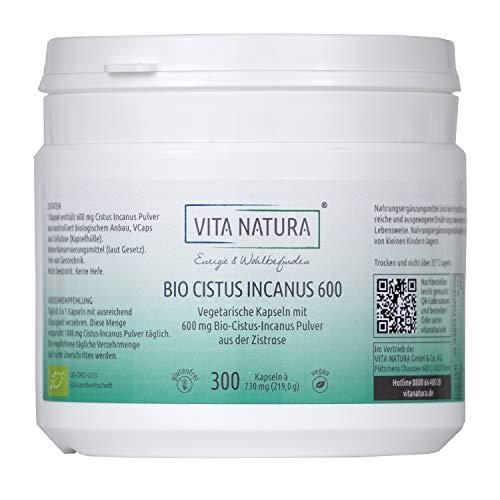 VITA NATURA Bio Cistus Incanus Kapseln - 600 mg - aus Griechenland - Vegi-Kapseln - Zistrose Kapseln - 100{79af88e57769bf3f2f7da2c57b9ca413275a569b5d895a868c97fa5fa2697a77} Vegan - Biozertifiziert - Made in Germany
