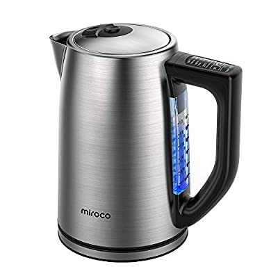 Miroco Electric Kettle Temperature Control Stainless Steel 1.7 L Tea Kettle, BPA-Free Hot Water Boiler Cordless with LED Light, Auto Shut-Off, Boil-Dry Protection, Keep Warm, 1500W Fast Boiling, 120V (Silver)