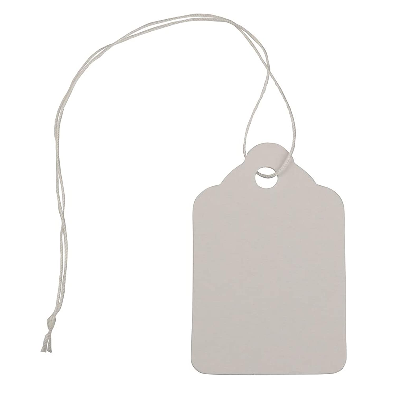 JAM PAPER Gift Tags with String - Mini - 1 3/4 x 1 1/10 - White - 75 Tags/Pack