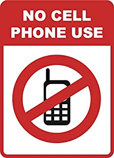No Cell Phone Use Inches Sign - Aluminum Metal - 6 Pack, 12x18