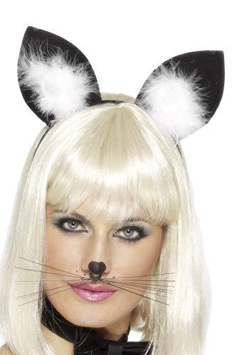 Smiffys - Katzenohren Haarreif Ohren zum Kostüm Harr Reif schwarz Fasching Kätzc