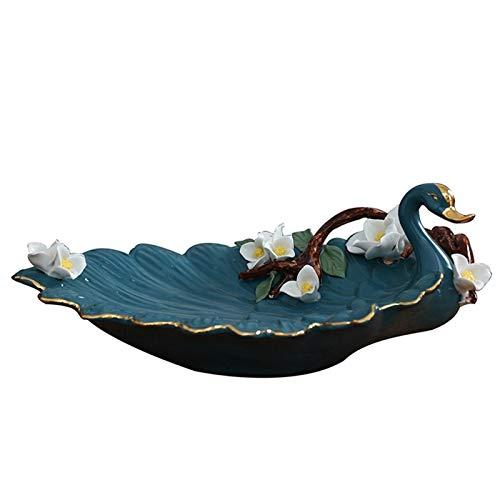 Bandeja para llaves para mesa de entrada, diseño de cisne, decoración de cerámica, decoración de estilo europeo, sala de estar, mesa de café, fruta, plato de almacenamiento, regalo de boda