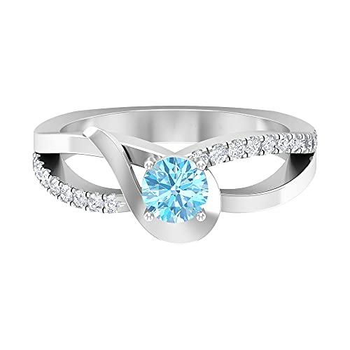 Piedra de nacimiento de septiembre - Anillo solitario de zafiro azul de 5,00 mm con acento de diamante HI-SI, anillo de compromiso de vástago dividido, 14K Oro blanco, zafiro azul, Size:EU 62
