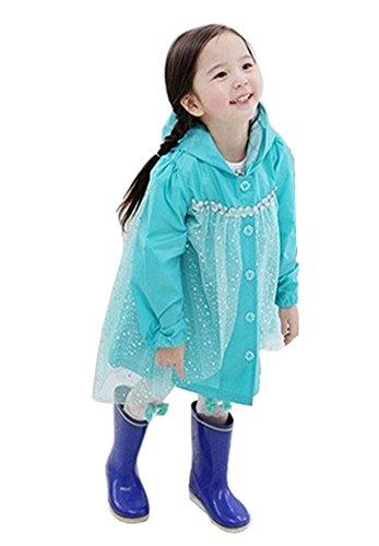 Baby-girls conte de fées Robe de princesse pluie Mode enfants pluie Bleu S