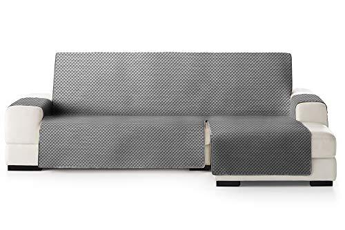 JM Textil Copridivano Salvadivano Chaise Longue Elena, Protezione Imbottita per divani Bracciolo Destro. Dimensione -290cm. Colore Grigio 06 (Visto di Fronte)