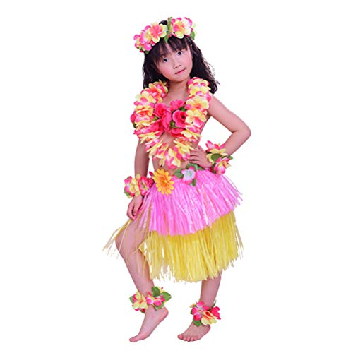 Amosfun 8PCS Disfraz Hawaiana niña Falda Hula Diadema de Flores Pulsera Lei Guirnalda Collar para niñas (Rosa + Amarillo)
