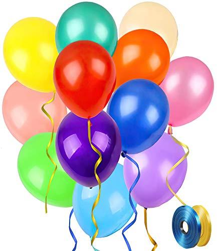 Globos de Cumpleaños de Colores, 100 Piezas Globos de Látex con Cintas para Fiestas, Bodas, Reuniones y Otras Celebraciones